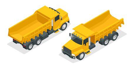 Isometric dumper truck isolated. Çizim
