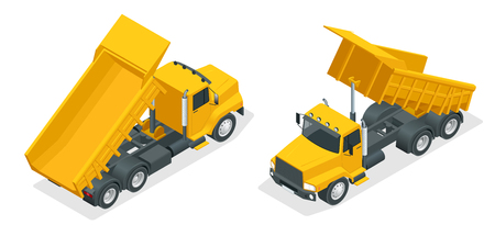 Isometric dumper truck isolated. Illustration