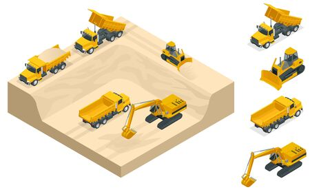 Isometric excavators and bulldozers dig a pit on the sand quarry. Vectores