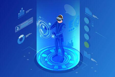 Isometric virtual reality concept. Man wearing virtual reality headset.
