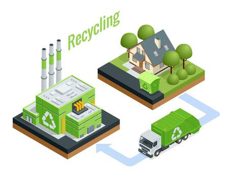Usine de traitement des déchets isométrique. Processus technologique. Recyclage et stockage des déchets pour une élimination ultérieure. Illustration vectorielle.