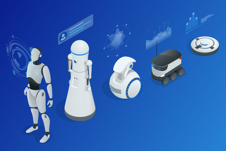 Isometric concept robot programming. Info-graphics of Robots helpers and friends. Illustration