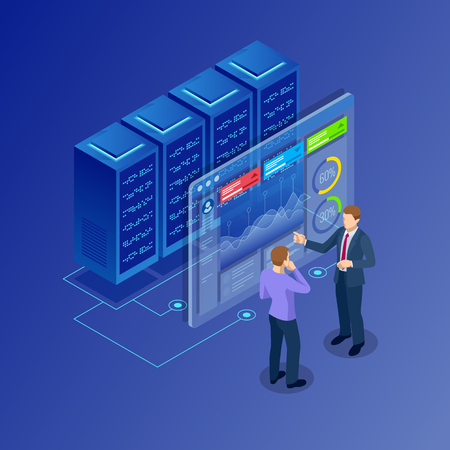 Isometric concept of data network management. Businessmans in data center room. Hosting server and computer database.