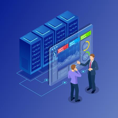 Isometric concept of data network management. Businessmans in data center room. Hosting server and computer database. Vector Illustration