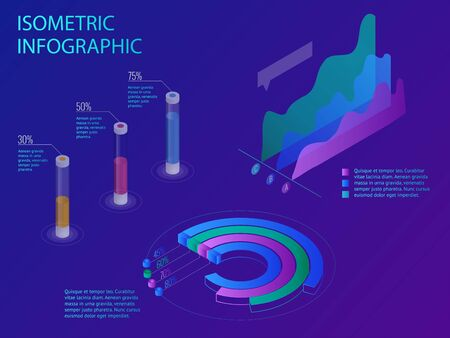 Set of infographics with data financial graphs. Illustration