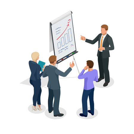 Isometric Group of business people looking at the graph on flipchart