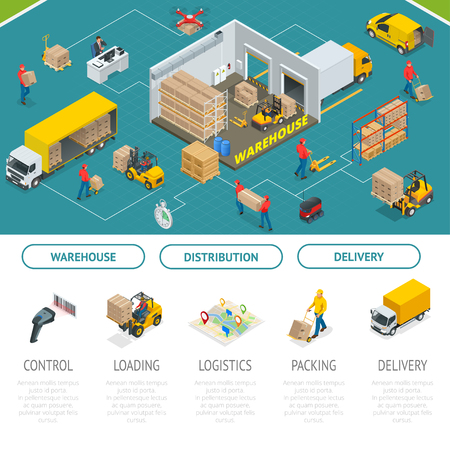 Concepto de servicios isométricos de almacenamiento y distribución. Almacén de Almacenamiento y Distribución. Ilustración de vector