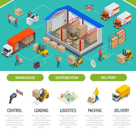 Isometric Warehousing and Distribution Services Concept.