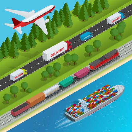 Global logistics network Flat isometric vector illustration