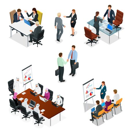 Isometric business people talking conference meeting room.