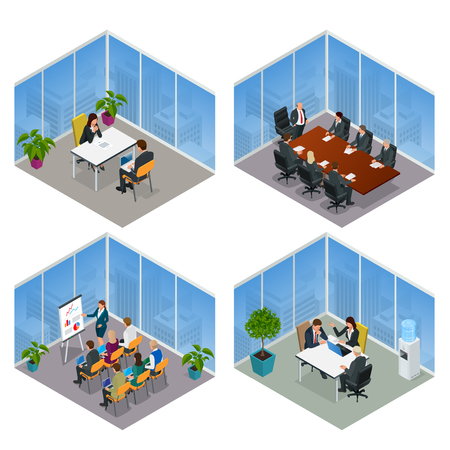 Isometric business people talking conference meeting room. Team work process. Business management teamwork meeting and brainstorming. Vector illustration.