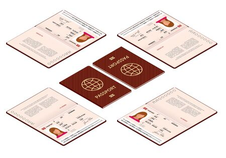 Vector isometric Blank open passport template. International passport with sample personal data page. Document for travel and immigration. Isolated vector illustration. Vettoriali