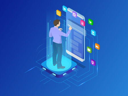 Isometric programmer working in a software develop company office. Developing programming and coding technologies concept. Illustration