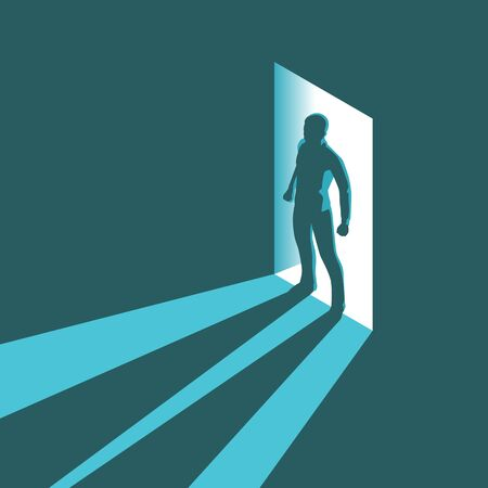 Isometrisch conceptensilhouet van de mens die donkere ruimte met helder licht in deuropening ingaat. Vector illustratie