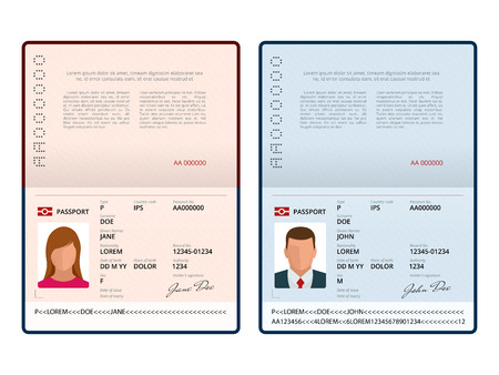 Vector Blank open passport template. International passport with sample personal data page. Document for. Isolated vector illustration