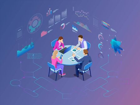 Isometric business people talking conference meeting room. Team work process Vector illustration.
