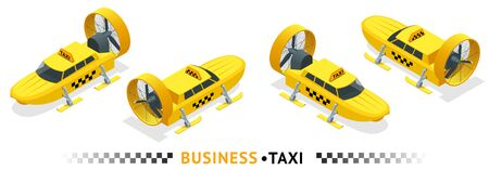 Isometric high quality city service transport icon set. Car taxi.