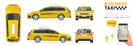 Flat high quality city service transport icon set. Car taxi. Build your own world web infographic collection.