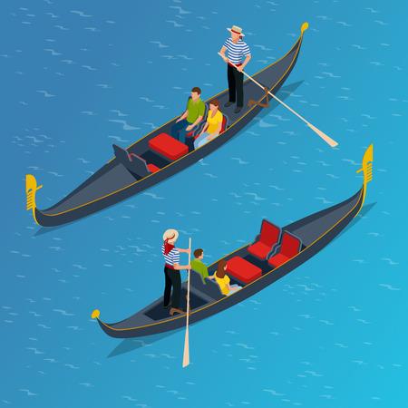 Isometrische traditionelle Gondel. Gondel mit Gondoliere und Touristen in Venedig, Italien-Reise. Italienischer Mann Beruf. Vektor-Illustration.