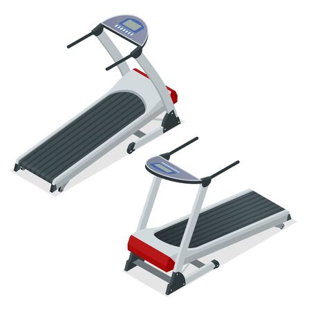 Isometric treadmill, device for walking or running on white background. Cardio and gym equipment for fitness. Vector illustration.