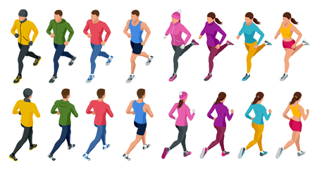 Isometric running people. Front and rear view. People are dressed in summer, winter, autumn, spring sports uniform Foto de archivo - 99217229