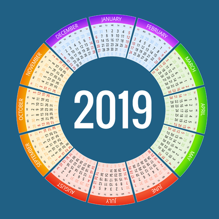 Colorful round calendar 2019 design, Print Template, Your Logo and Text. Week Starts Sunday. Portrait Orientation. 2019 Calendar of 12 Months. Vectores