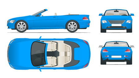 Transfer, Cabriolet car. Cabrio coupe vehicle template vector isolated on white. View front, rear, side, top. All elements in groups