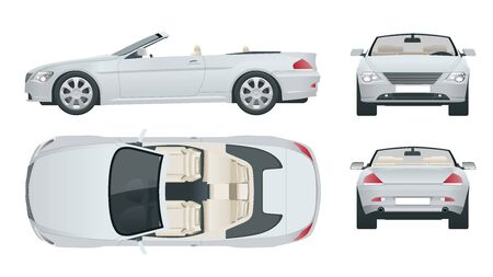 Transfer, Cabriolet car. Cabrio coupe vehicle template vector isolated on white. View front, rear, side, top. All elements in groups. Ilustração