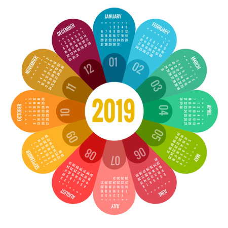 Colorful round calendar 2019 design, Print Template, Your Logo and Text. Week Starts Sunday. Portrait Orientation. 2019 Calendar of 12 Months Vettoriali