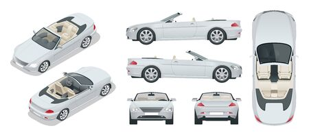 Transfer, Cabriolet car. Cabrio coupe vehicle template vector isolated on white. View front, rear, side, top, isometric. All elements in groups Illustration