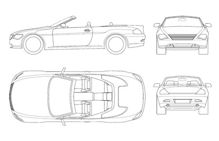 Cabriolet car in outline. Cabrio coupe vehicle template vector isolated on white. View front, rear, side, top. All elements in groups.