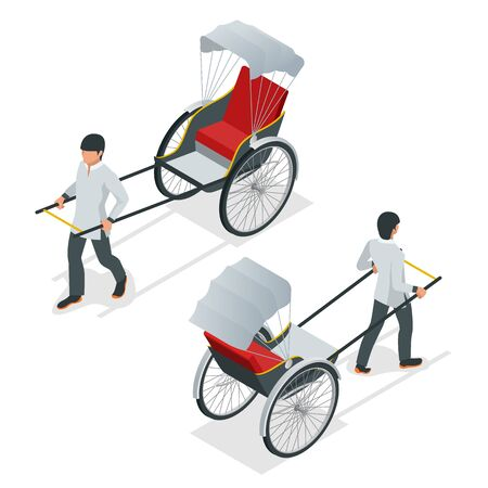 Isometric hand pulled rickshaw. Rickshaw China or Indian vector front and rear view.