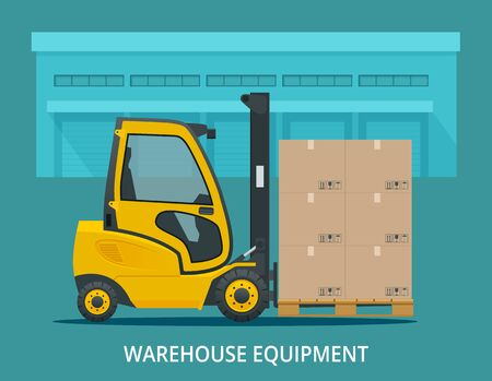 Isometric vector forklift truck isolated on white. Storage equipment icon set. Forklifts in various combinations, storage racks, pallets with goods for infographics. Side view