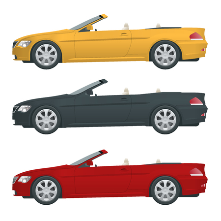 Transfer, Cabriolet car. Cabrio coupe vehicle template vector isolated on white. View side. All elements in groups