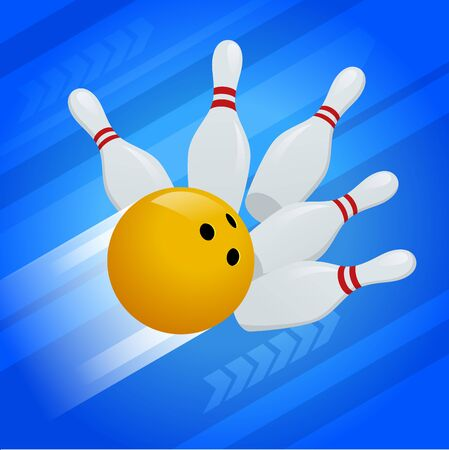 Vector abstract background Bowling Pins and ball. The concept of games, entertainment, hobbies and leisure club.