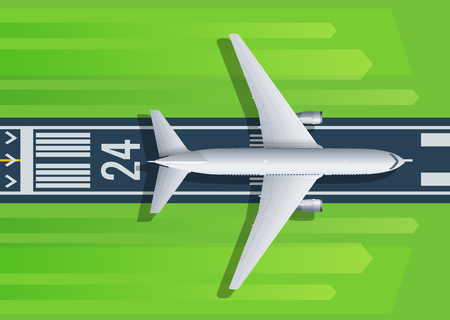 Passenger plane fly up over take-off runway from airport. For airline, travel, transport company web page design. Vector illustration