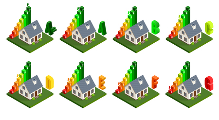 Energy efficiency and home improvement concept. Isometric home energy icons. Vector illustration Illustration