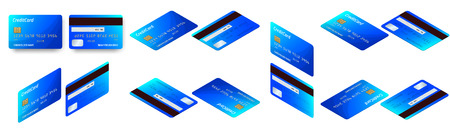 Vector isometric set of Templates of credit cards design. Plastic credit card or debit card. Vettoriali