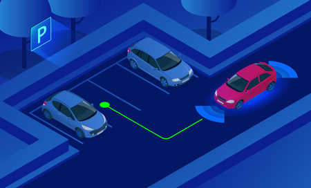 Isometric Parking Assist System vector illustration. Car technology with sensors . Sensors scanning free space to park. Generic park pilot parktronic electronic aid system sensors with maneuver. Ilustrace