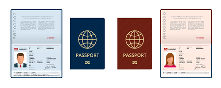 Vector Blank open passport template. International passport with sample personal data page. Document for travel and immigration. Isolated vector illustration Illustration