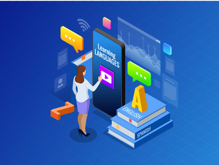 Isometric Online Language Learning Interface and Teaching Concept. Online language school lifestyle. Education Concept. Vector illustration Illustration