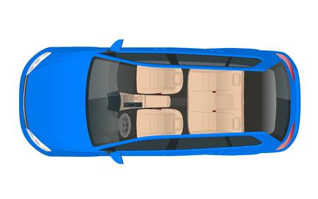 Salon samochodowy widok wagonu z góry, ilustracji wektorowych