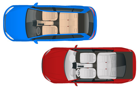 Salon car wagon and salon car sedan view from above, vector illustration. Compact Hybrid Vehicle. Eco-friendly hi-tech auto. Easy color change.