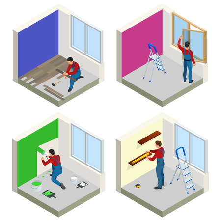 Home repair isometric concept set with workers, tools, equipment isolated on white. Building, construction and home repair tools vector flat isometric illustration.