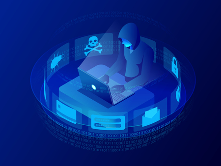 Isometric vector Internet hacker attack and personal data security concept.