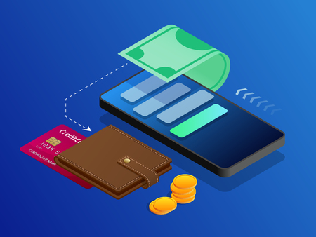 The concept of electronic Bills online payment, mobile payment, shopping, banking. Vector isometric illustration Payment Methods.