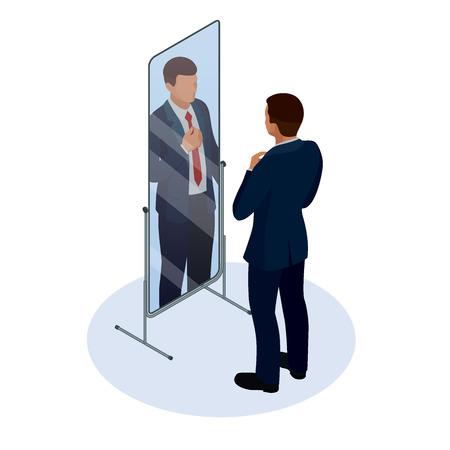 Corbata de ajuste de empresario isométrico frente al espejo. Hombre comprobando su apariencia en el espejo. Hombre de negocios mirando a sí mismo en la ilustración de diseño plano de vector de espejo.
