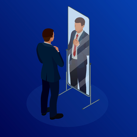 Isometric businessman adjusting tie in front of the mirror. Man checking his appearance in the mirror. Businessman looking himself in the mirror vector flat design illustration