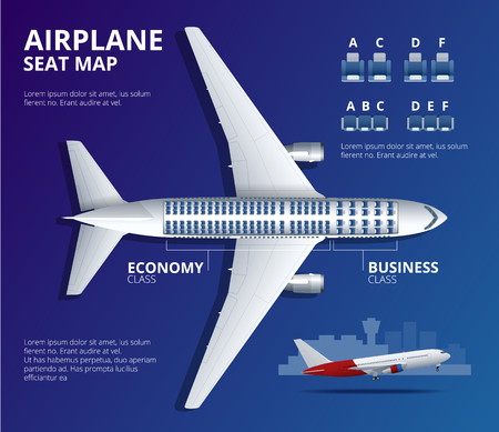 Chart airplane seat, plan, of aircraft passenger. Aircraft seats plan top view. Business and economy classes airplane indoor information map.
