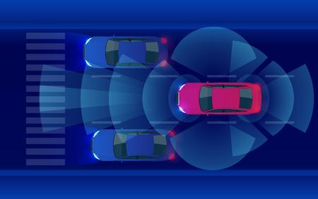 Smart car HUD, autonomous self-driving mode vehicle on metro city road iot concept with graphic sensor radar signal system and internet sensor connect.